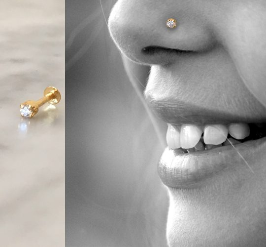 18K yellow gold diamond nose stud