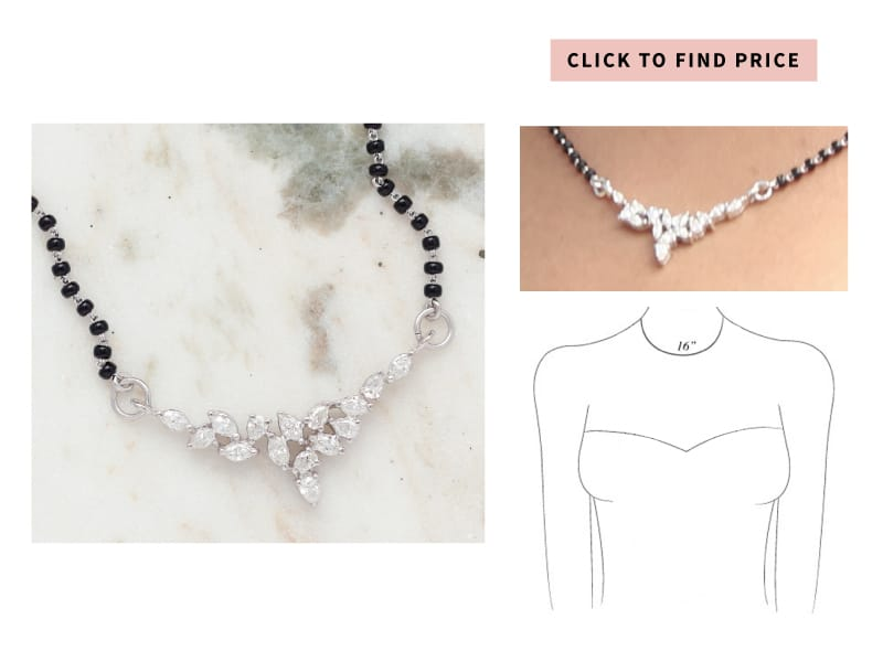 simple mangalsutra in white gold