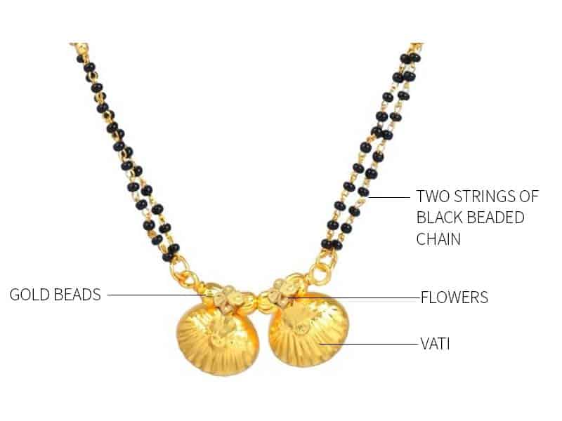 The traditional Mangalsutra comes with nine black beads and nine gold beads.
