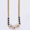 Marquise diamond mangalsutra with ruby and partial black bead yellow gold chain